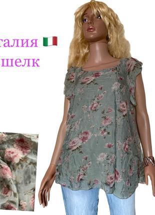 Италия шелковая блуза шелк натуральный пионы винтажная расцветка oriuer