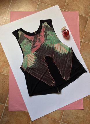 ✨майка чёрная  с рисунком крылья