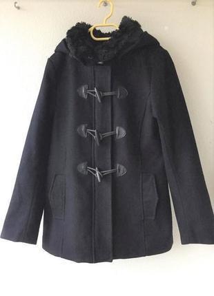 Шерстяное пальто парка дафлкот с капюшоном