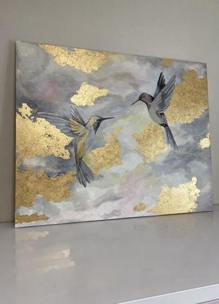 Картина абстракция с птицами