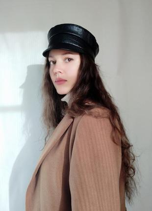 Кожаная кепи модные кепки фуражки кепi картуз кепка, фуражка стильная чёрная