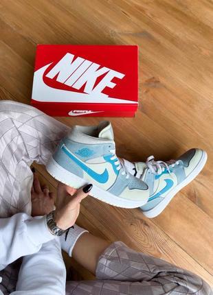 Кросівки air jordan 1 mid mixed textures blue кроссовки