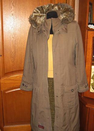 Утепленное пальто р 10-12 коттон, цвет мокрый песок с капюшеном