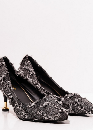 Черные текстильные туфли с бахромой2 фото