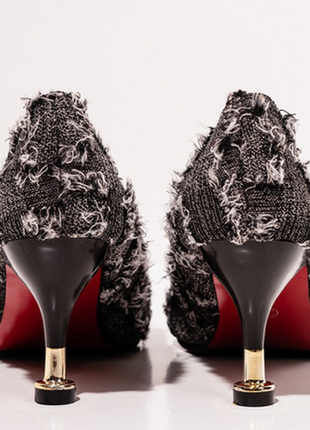 Черные текстильные туфли с бахромой4 фото