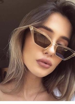 Классные имиджевые очки лисички узкие тренд ретро винтаж сонцезахисні окуляри