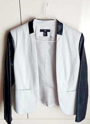 Пиджак с кожаными рукавами h&m