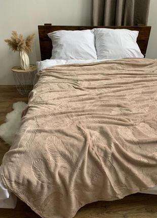 Покрывало - перья флис капучино