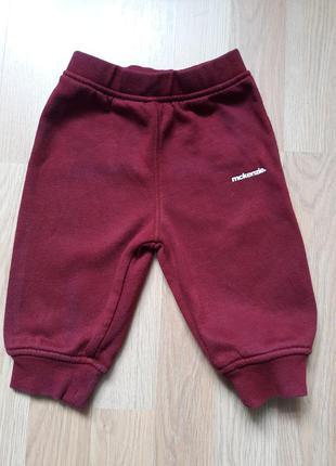 Штаны для мальчика 6-9 месяцев бордовые mckenzie