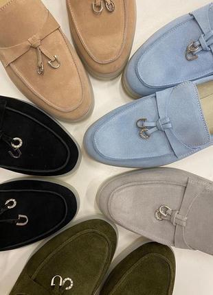 Лора туфли лоферы женские натуральная замша италия