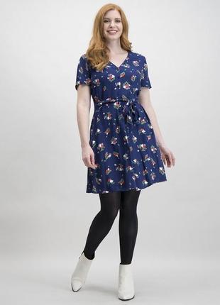 Новое платье в ретро стиле в цветочек v вырез tu синее принт чайное мини