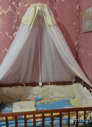 Комплект: балдахин,бортики на кроватку и наматрасник