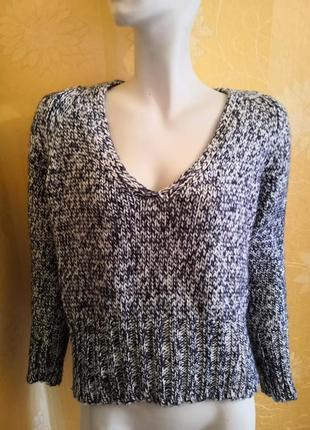 Вязаный свитер, укороченный свитер, оверсайз свитер, размер s