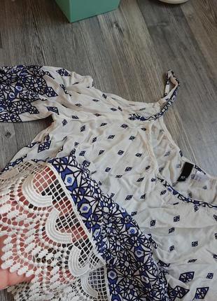 Легкая майка с кружевом и открытыми плечами на тонких бретельках , топ , блуза2 фото