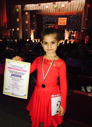 Платье для бальных танцев красное на 6-8 лет