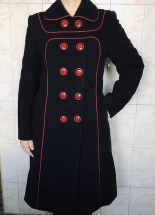 Драповое длинное двубортное пальто шерстяное пальто драп шерсть элегантное
