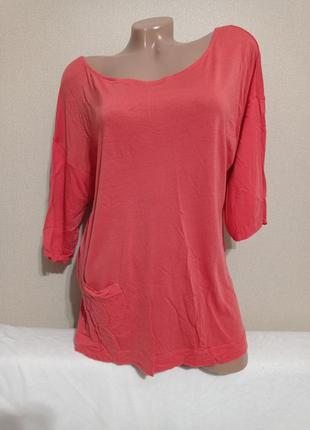 Блуза, вискоза(лиоцел), цвет коралловый, размер л-хл