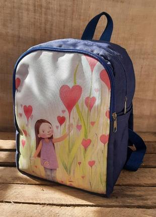 Рюкзак с принтом небольшой женский детский 2 отделения принт