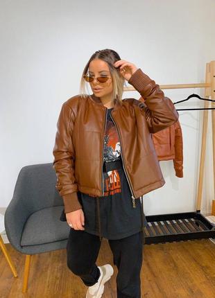 Куртка женская  укороченная из эко-кожи s,m,l