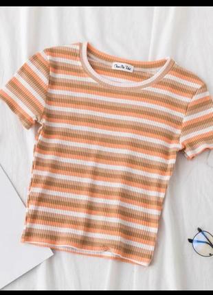 Топ укороченный в полосу недный мокко моко рубчик лапша футболка короткий