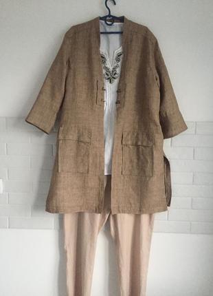 Удлинённый пиджак из льна в стиле бохо nile