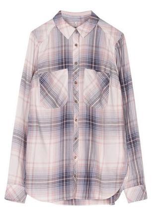 Стильная хлопковая рубашка в полоску и клетку серо-розовую от испанского бренда ррs новая