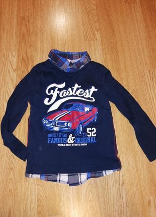 1+1=3 кофта реглан рубашка обманка на мальчика с машиной