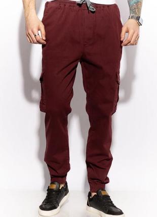 Мужские бордовые брюки карго