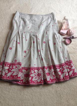 Льняная юбка в цветочный принт