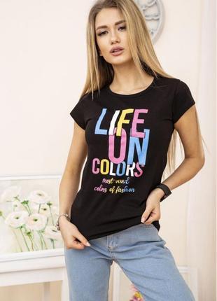 Натуральная женская футболка из хлопка с ярким принтом надписью