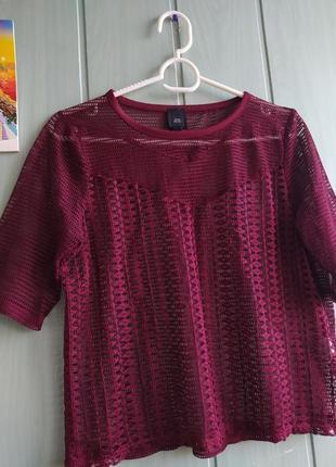 Бордовый топ, футболка сеточка