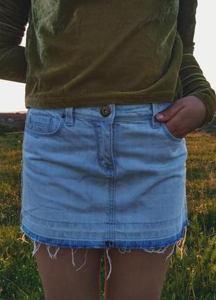 Крутая джинсовая мини юбка от topshop