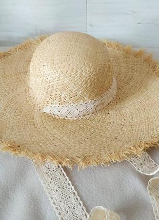 Летняя соломенная пляжная шляпа, шляпа с широкими полями и кружевной лентой, капелюх