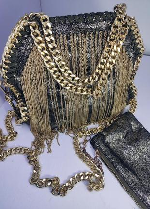Эксклюзивная сумка , качественная фурнитура бахрома цепь , сумка через плечо с короткими и длинной ручкой    с цепями , брендовая сумка 🌺