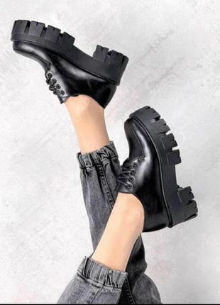 Туфли из натуральной кожи в стиле pr@da на платформе