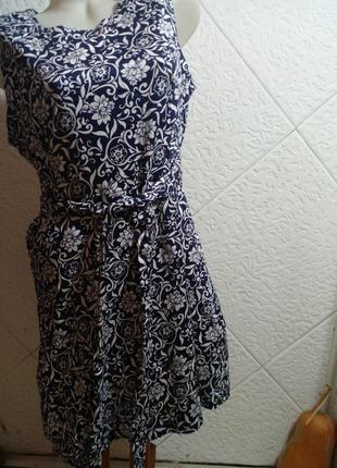 Платье хлопок без рукавов цветы