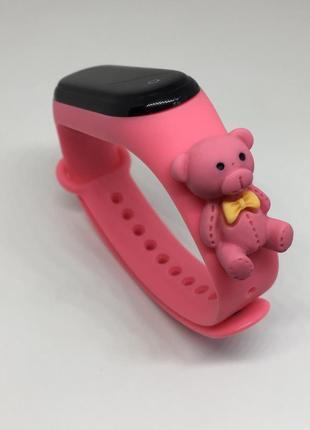 Силиконовый ремешок mi band 3 mi band 4 мишка розовый тедди