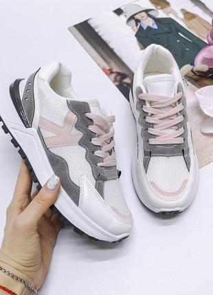 Кроссовки эко-замша белые + серый
