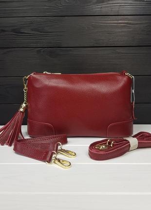 Женская сумочка с длинными ручками из натуральной кожи красная