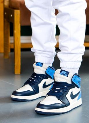 ❤ женские голубые кожаные кроссовки nike  air jordan 1 retro high og obsidian ❤