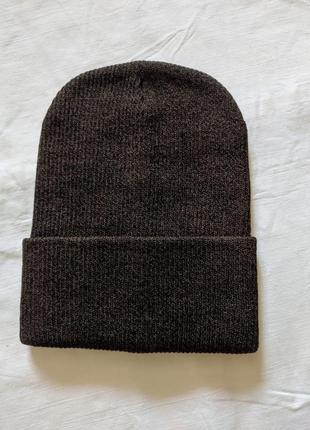 Двойная шапка в рубчик, 54-58рр, коричневый меланж