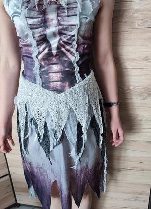 Женское платье ведьма, скелет с юбочкой, смерть, 36-38 рр. на хеллоуин