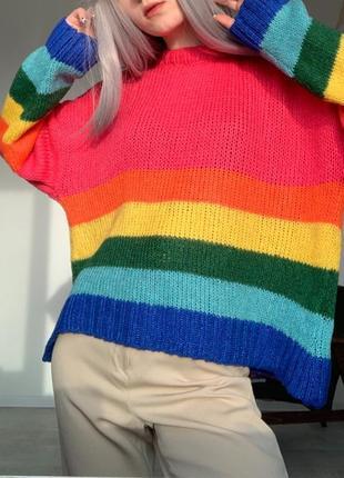 Радужный свитер джемпер