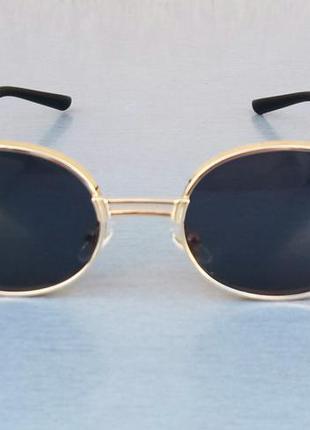 Versace очки стильные унисекс овальные узкие черные в золоте