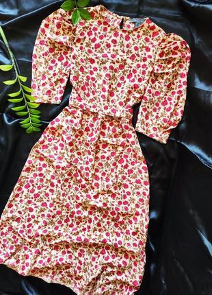 Яркое платье цветочный принт поечи фонарики винтаж primark