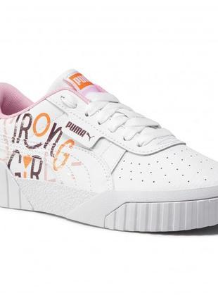 Сникерсы белые пума кроссовки светлые cali superbold jr 374370 01 с принтом strong girl кожа розовые