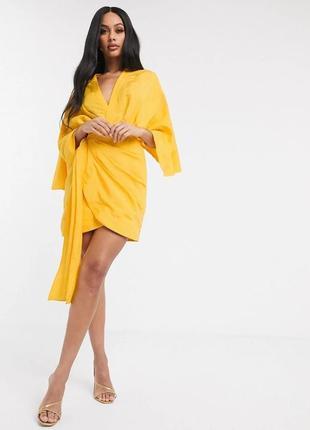 Льняное платье кимоно на запах asos