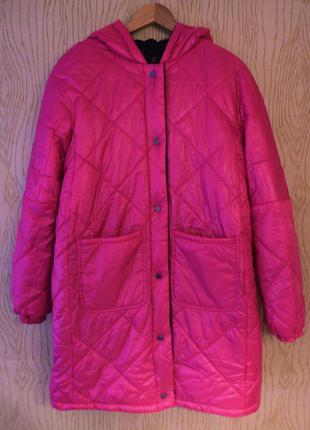 Новый пуховик двухсторонний капюшоном розовый черный стеганый куртка бомбер oversize овер