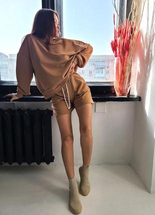 Костюм - свитшот и шорты с высокой посадкой