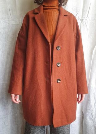 Базовое шерстяное пальто оверсайз пальто кирпичного морковного цвета topshop